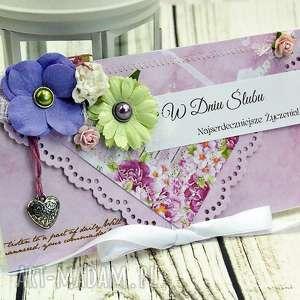 Prezent kartka z okazji ślubu-wiosenne kwiaty, ślub, wesele, kartka, kopertówka