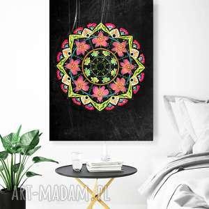 mandala kwiatowa a1, plakat, mandala, rysunek, kwiaty, ilustracja, sztuja