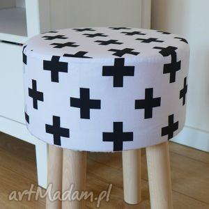 Stołek Fjerne M ( czarne krzyżyki), stołek, puf, dekoracja, siedzisko