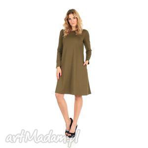 2-sukienka rozkloszowana oliwka,długa, lalu, sukienka, dzianina, kieszenie