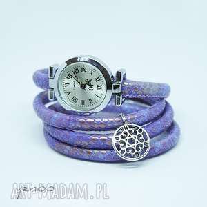 zegarek, bransoletka - fioletowy owijany, wężowy, bransoletka, rzemienie