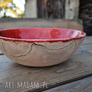 misa czerwona nakrapiana, ceramika, misa, miska, na owoce, kuchnia, prezent