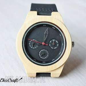 drewniany, bambusowy zegarek z datownikiem seiko - zegarek, drewniany, datownik, elegancki