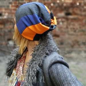 czapka unisex dzianina wiosna męska damska - patchwork, etno, czapka, męska