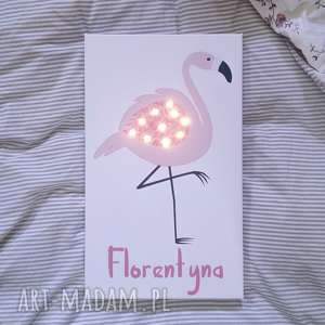 ŚWIECĄCY obraz LED różowy FLAMING personalizowany prezent lampka led , flaming,