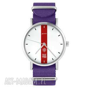 zegarki zegarek - szczęście fioletowy, nylonowy, zegarek, nylonowy pasek, typ