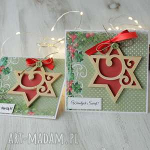 scrapbooking kartki komplet 2 kartek na boże narodzenie, kartka, święta, prezent