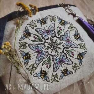 nerka xxl insektowy kalejdoskop, nerka, pszczoła, torebka z haftem, lniana torba