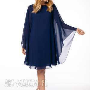 sukienka elena, onesize luźna szyfonowa, elegancka gładka weselna
