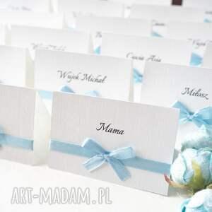 ręcznie wykonane zaproszenie eleganckie winietki z kokardką
