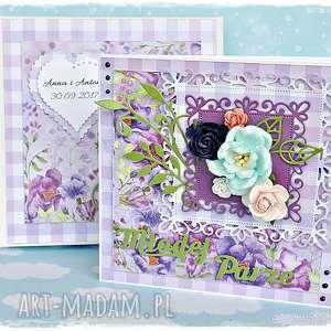 Ślubne kwiaty - piękna personalizowana kartka w pudełku - kartka, ślub