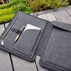 Organizer z filcu do torebki - a4 grafitowy na dokumenty teczki