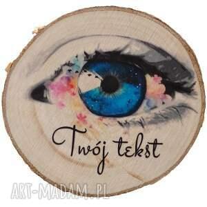 magnes z drewna - oko napisem, prezent, podziękowanie, drewniany