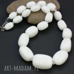 handmade korale naszyjnik agat biały w stali szlachetnej