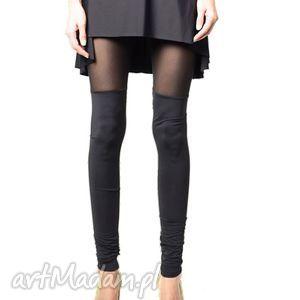 legginsy dwie czernie - tiul i jersey, legginsy, czarne, tiul, wyszczuplające