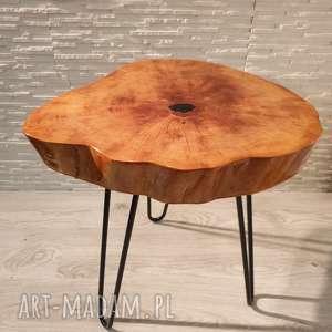 stolik drewniany z żywicy epoksydowej - plaster olchy, stolik, drewno, żywica