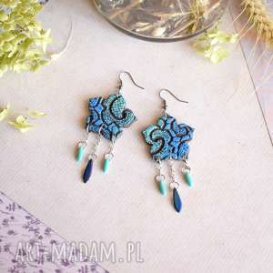 niebiesko-turkusowe kolczyki maldale, kolczyki, wiszące, mandala, boho