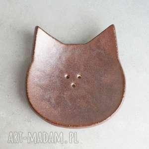 Kot - mydelniczka, łazienka, ceramika, kot, zwierzęta