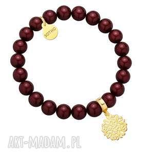 Bordowa bransoletka z pereł SWAROVSKI® CRYSTAL ze złotą rozetką z gałązek