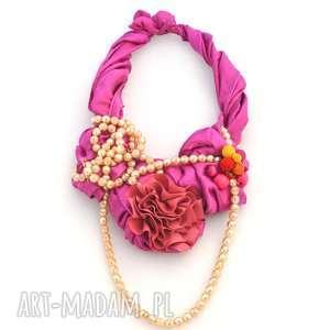 fuksja naszyjnik handmade, naszyjnik, kolia, wisior, różowy, fuksja, perły
