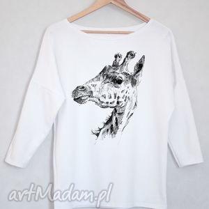 ŻYRAFA bluzka bawełniana oversize S/M biała, koszulka, bluzka, bawełna, nadruk