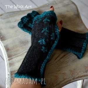 rękawiczki mitenki - rękawiczki, mitenki, prezent, wełniane