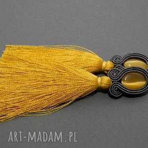 klipsy sutasz z kocim okiem i chwostami, sznurek, eleganckie, wiszące