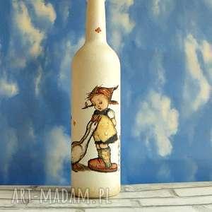 szklana butelka dziewczynka z gąskami - decoupage dekoracja, handmade