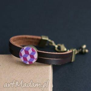 ręcznie wykonane fiolet z rzemieniem, bransoletka