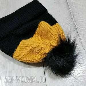 czapka z pomponem podwójnym rondem, zimowa czapka, pomponem