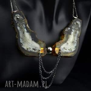 ręcznie wykonane naszyjniki zjawiskowa kolia z bursztynem srebro