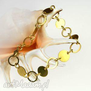 Prezent c332 Elegancka bransoletka z mosiądzu, bransoletkamodna, kolorzłoty, mosiądz
