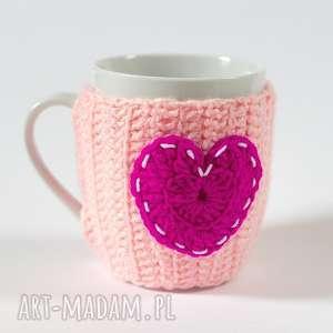 kubki kubeczek w sweterku, kubek, ocieplacz, sweterek, miłość, serce, walentynki