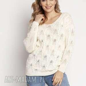 swetry dzianinowa ażurowa bluzka - swe145 ecru mkm, bluzka, ażurowy