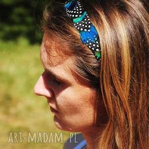 ręcznie wykonane ozdoby do włosów opaska z naturalnych piór - magia
