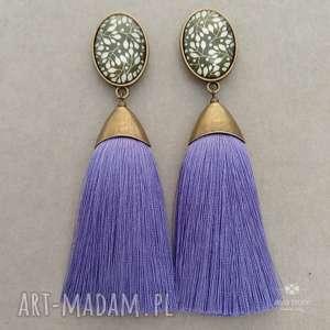 Pędzelki z chwostem fioletowym i wzorzystym kaboszonem, sztyfty, metal, szkło, klipsy