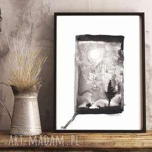 Prezent abstrakcja obraz nowoczesny grafika czarno-biała Shadow , do ramki