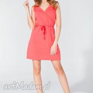 Sukienka sportowa z kopertowym dekoltem T112 kolor koral - TESSITA, sukienka, letnia
