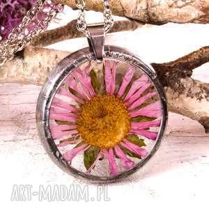 z1014 naszyjnik z suszonymi kwiatami herbarium - naszyjnikzkwiatami, bizuteriazżywicy