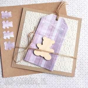 kartki miś kartka handmade na urodziny, narodziny, miś, chrzciny, narodziny