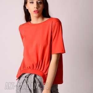 bluzki bawełniany t-shirt z zakładkami, bawełniana, plisy, zakładki, naturalna