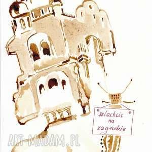 szlachcic na zagrodzie - obraz kawą malowany - ślimak, zamek