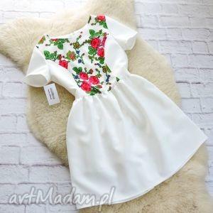 Biała sukienka w stylu folk , sukienka, biała, folk, góralska, folkowa, regionalna