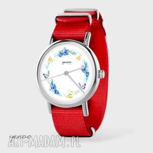 zegarki zegarek, bransoletka - wianek, motyle czerwony, nato, zegarek