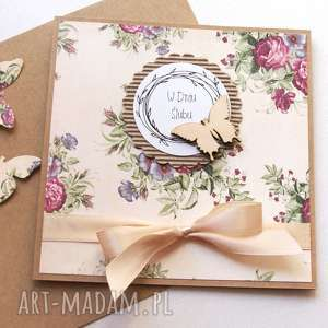 kartki kartka ślubna handmade retro, ślub
