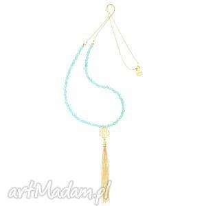 naszyjniki długi miętowy naszyjnik z rozetką i złotym łańcuszkowym chwostem
