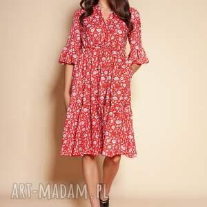 sukienka z falbanami - suk197 czerwony wzór, falbankami, summer dress