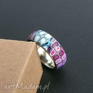 stalowa obrączka z polymer clay - obrączki, pierścionki, retro, fioletowy