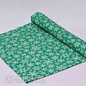uszyciuch bieżnik świąteczny śnieżki zielone, bieżnik, serweta, święta, obrus