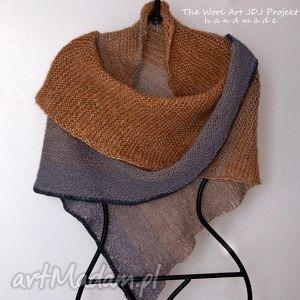 Duża chusta chustki i apaszki the wool art chusta, na drutach